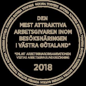 Emblem för mest attraktiva arbetsgivaren inom besöksnäringen 2018